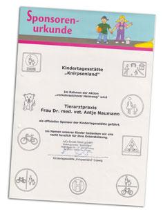 Sponsoring-Urkunde für die Tierarztpraxis Naumann