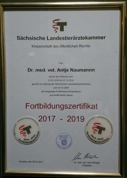 Fortbildungszertifikat 2017 - 2019